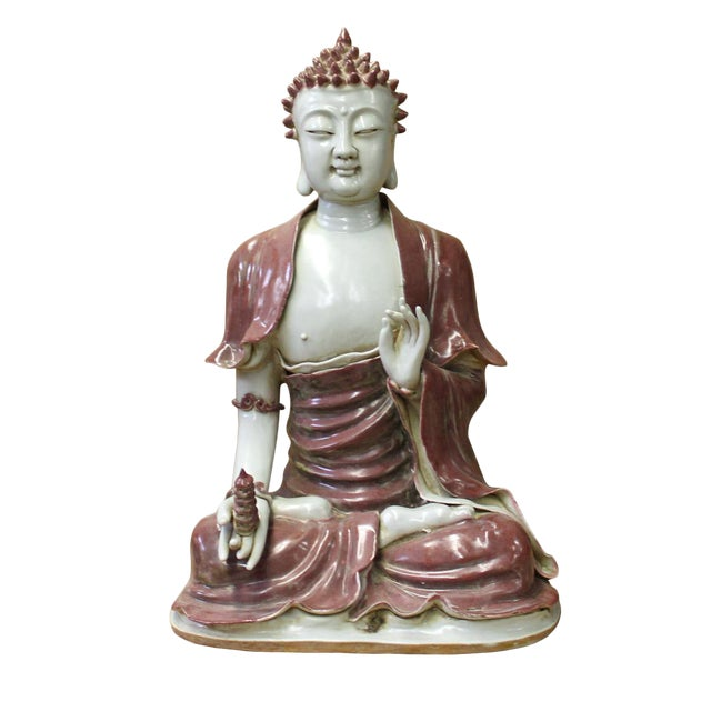 Vintage Chinese Red Glaze Porcelain Sitting Buddha with Tower Statue For Sale
