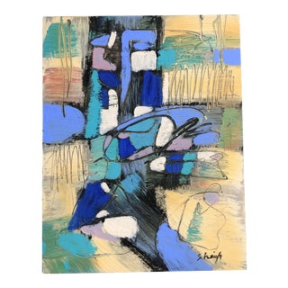 """Original Contemporary Stephen Heigh Abstract Painting """"Blue Light Special """"Signed For Sale"""