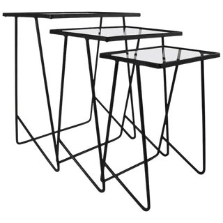 Mid Century Modern Wrought Iron Nesting Tables - Set of 3 For Sale