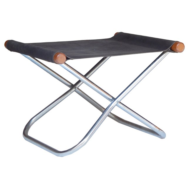 Canvas Folding Chair and ottoman by Takeshi NII For Sale In New York - Image 6 of 9