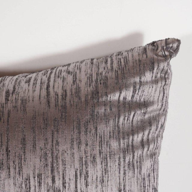 Pair of Modernist Pillows in Iridescent Lavender with Organic Black Patternation For Sale - Image 4 of 5