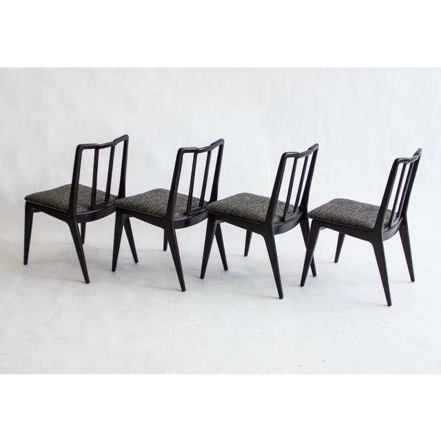 Ebonized John Stuart Dining Chairs - Set of 4 - Image 6 of 7