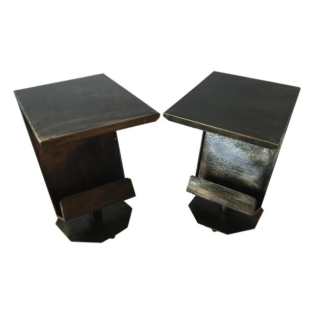 Art Deco Artist Bronze Patina Side Tables - A Pair - Image 1 of 7