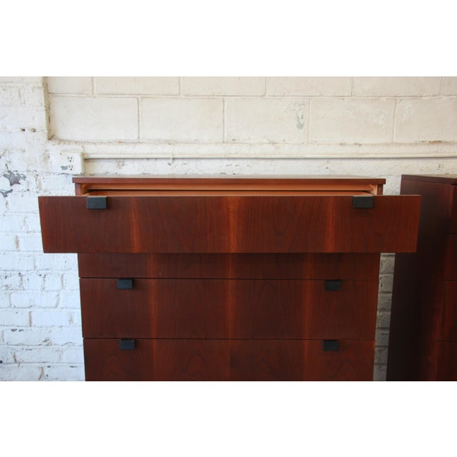 Milo Baughman for Directional Rosewood Highboy Dressers - A Pair For Sale - Image 9 of 11