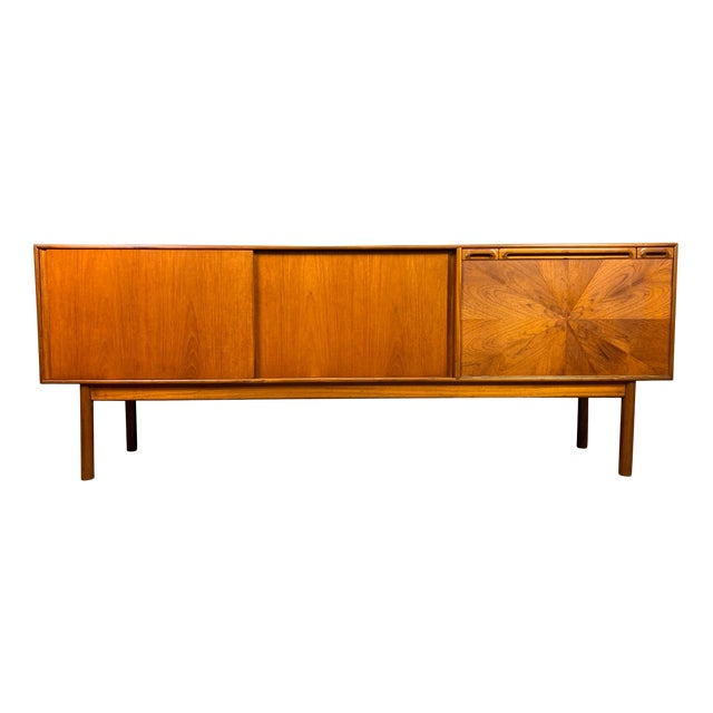 """1960s British Mid Century Modern McIntosh Teak """"Sunburst"""" Credenza For Sale"""