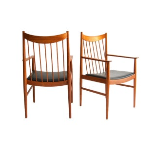 "Danish Mid-Century Modern Teak ""Captain"" Arm Chairs by Arne Vodder for Sibast, Pair For Sale"