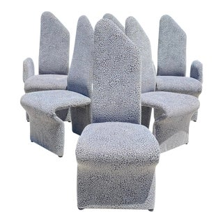 Rougier Postmodern Sculptural Dining Room Chairs in Grey Snow Leopard Velvet - Set of 6 For Sale