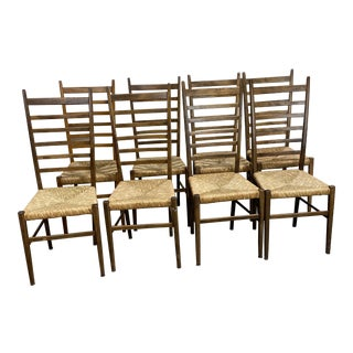 Mid Century Italian Gio Ponte Style Ladder Back Chairs-Set 8 For Sale