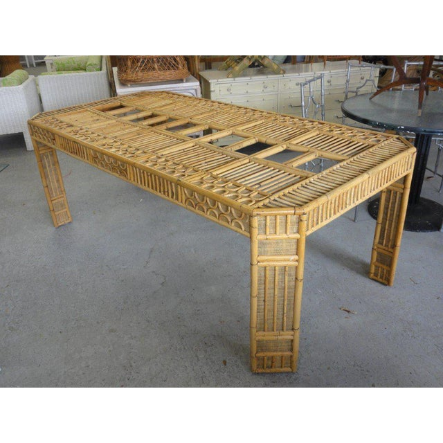 Intricate Natural Bamboo Dining Table For Sale - Image 13 of 13