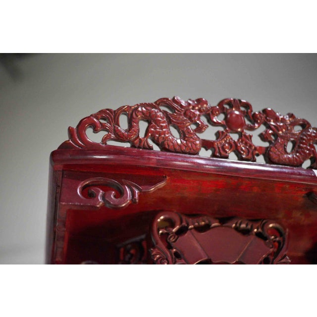 Metal Vintage Chinoiserie Carved Elmwood Lighted Display Curio For Sale - Image 7 of 13