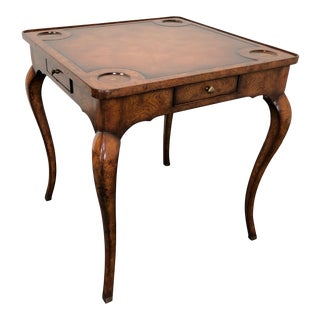 Theodore Alexander Country Style Tooled Leather Game Table For Sale