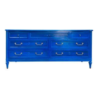 Vintage Henredon Glossy Blue Dresser For Sale