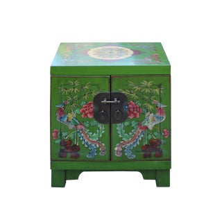 Chinese Oriental Distressed Green Flower Birds End Table Nightstand For Sale