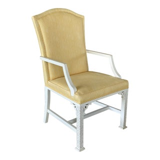 Vintage Fretwork Yellow Upholstered Arm Chair For Sale