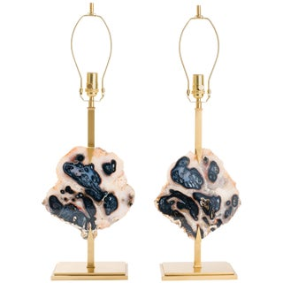 Pair of Agate Table Lamps, Custom-Made For Sale