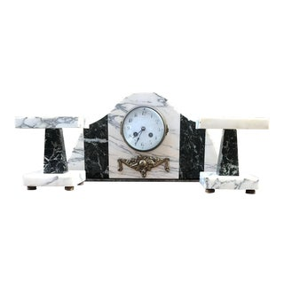 Art Deco Table Clock with Marble Bases, 1920s For Sale
