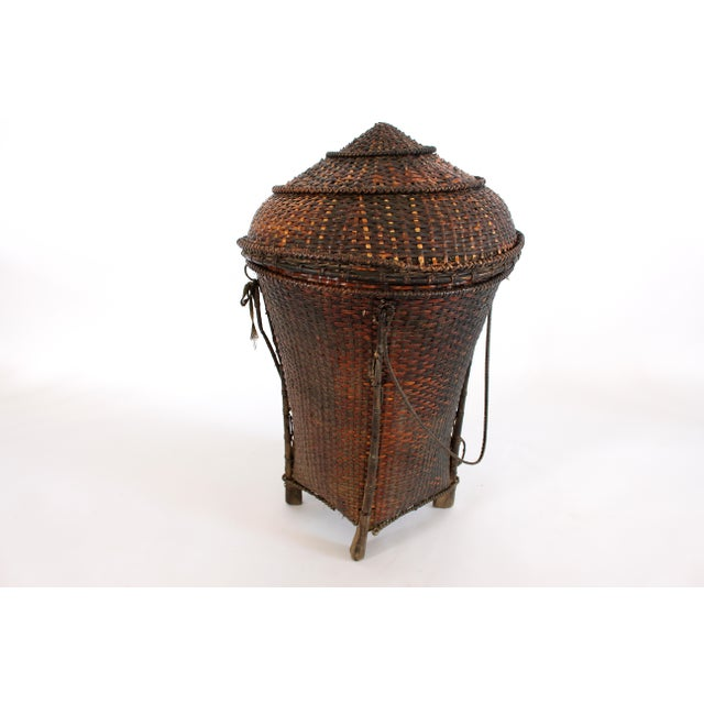 Primitive Woven Storage Basket with Lid For Sale - Image 3 of 10