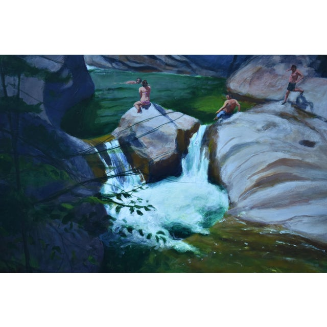 Contemporary Upper Falls Swimming Hole in Vermont Contemporary Painting by Stephen Remick For Sale - Image 3 of 12
