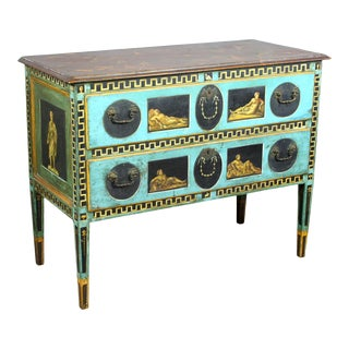 Late 19th Century Italian Neoclassical Hand-Painted and Decorated Two Drawer Chest For Sale