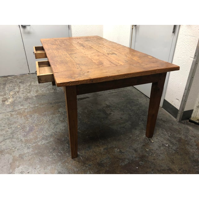 Rustic Reclaimed Two Drawer Farm Table For Sale - Image 4 of 10