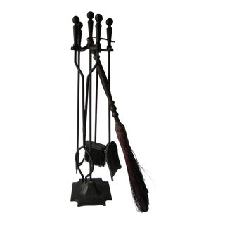 Iron 5 Piece Fireplace Tool Set For Sale