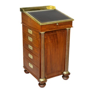 Campaign Regency Mahogany and Brass Mounted Desk For Sale