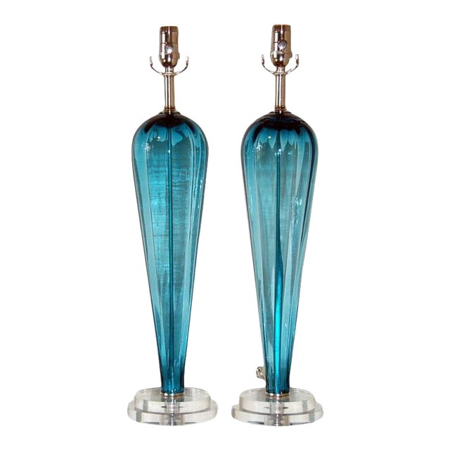 Silver Vintage Italian Glass Teardrop Table Lamps Teal Blue For Sale - Image 8 of 8