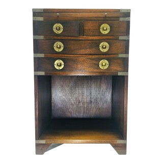 Vintage English Campaign Style Chest With Writing Drawer For Sale