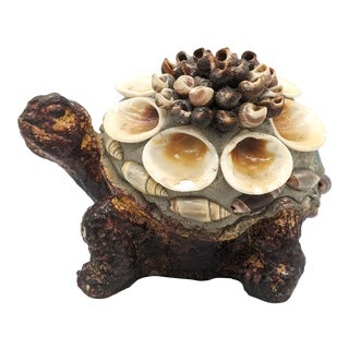 Late 20th Century Vintage Shell Encrusted Concrete Turtle For Sale