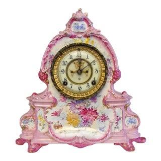 "Ansonia Royal Bonn ""La Manche"" Pink Porcelain Shelf Mantle Clock For Sale"