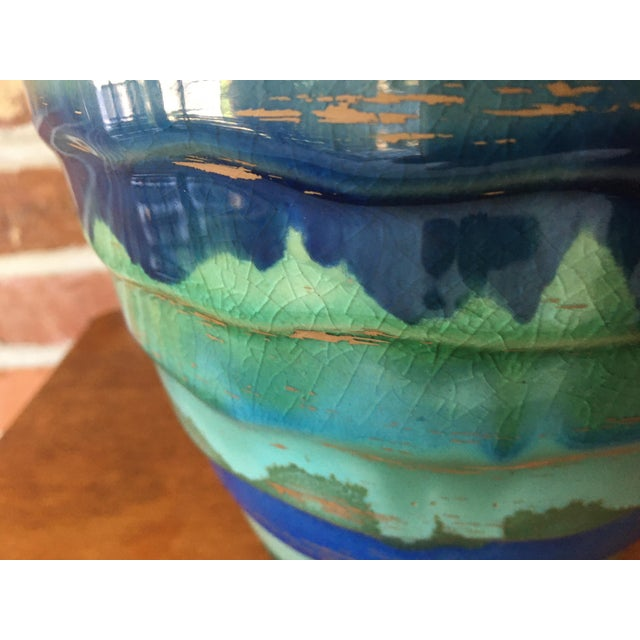 Late 20th Century Contemporary Large Drip and Crackle Glazed Ribbed Vase For Sale - Image 9 of 11