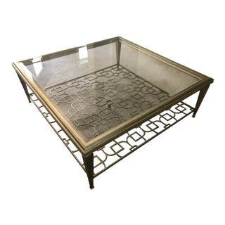 Caracole Sociables Glass Cocktail Table With Warm Taupe Silver Leaf Finish For Sale