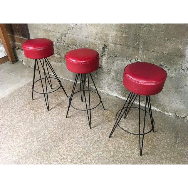 Modern Mid Century Iron Bar Stools- Set of 3 For Sale - Image 3 of 10