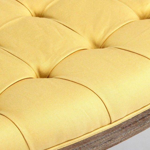 French Country Leah Curved Bench in Yellow For Sale - Image 3 of 5
