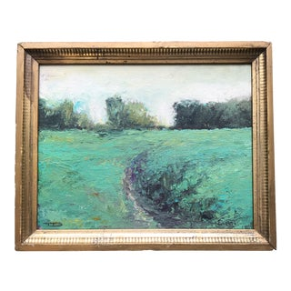 Vintage Original Abstract Landscape Painting Signed For Sale