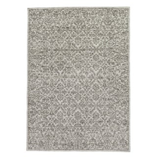 "Sens Hand knotted Wool/Viscose Ivory/Gray Rug-6'x9"" For Sale"