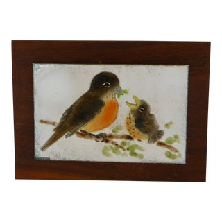 Mid Century Enameled Plaque of Birds