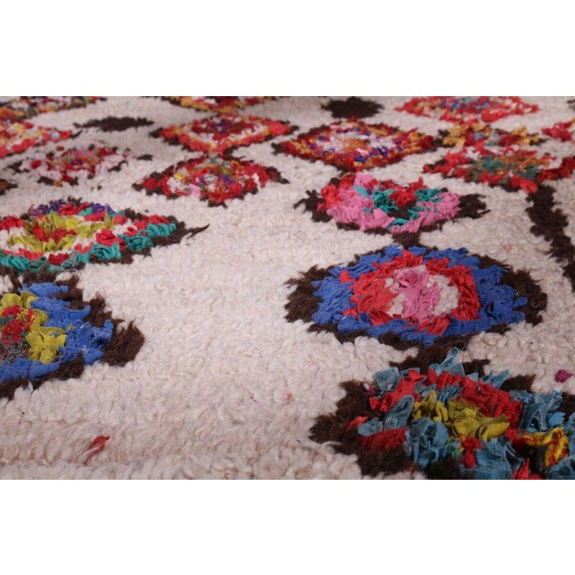 1960s Hand Knotted Floral Geometric Moroccan - 4' X 7' For Sale - Image 5 of 6