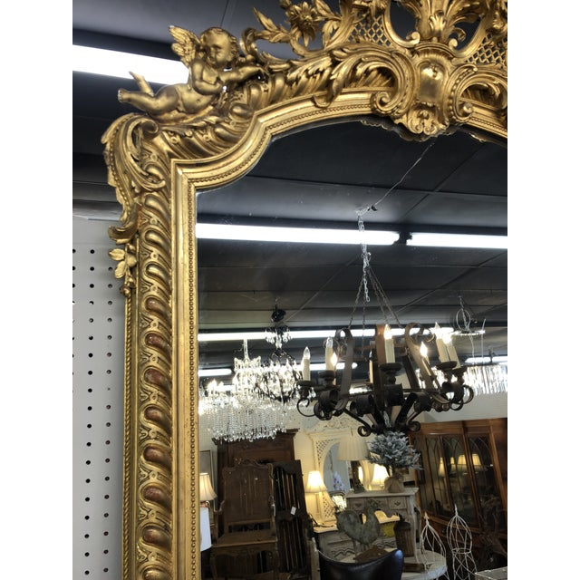 Mid 19th Century 19th Century French Napoleon III Gold Leaf Mirror For Sale - Image 5 of 13