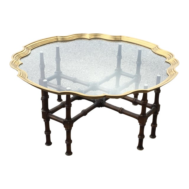 Baker Faux Bamboo With Brass Framed Glass Top Coffee Table