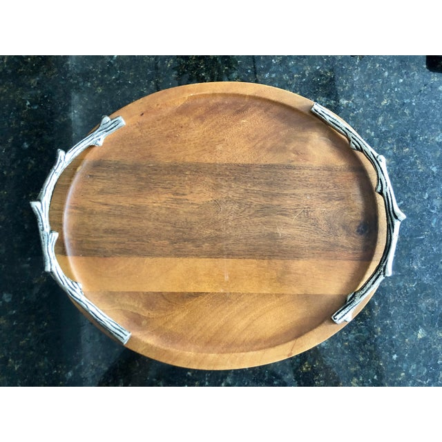2000 - 2009 Faux Bois Pewter Cheese Board For Sale - Image 5 of 5