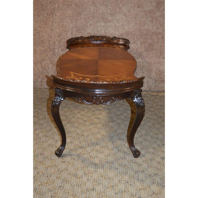 Vintage French Style Carved & Inlaid Petite Cocktail Table For Sale - Image 4 of 11