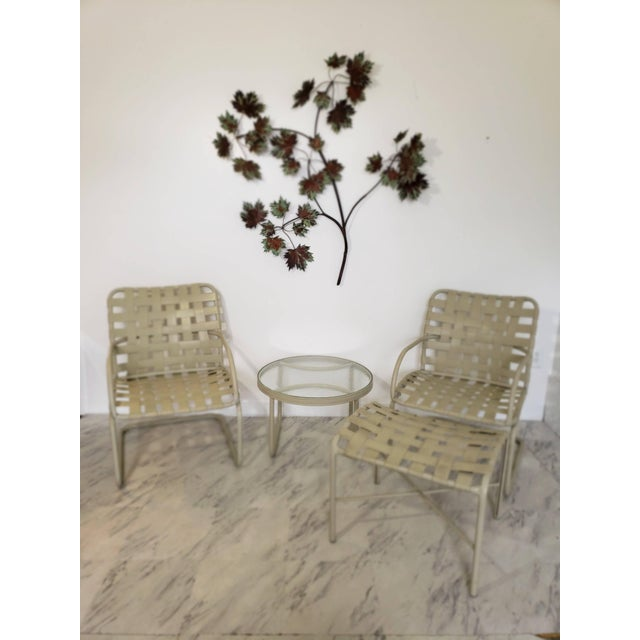 Mid-Century Modern Mid-Century Modern Brown Jordan Patio Set Pair Bouncy Chair Ottoman Side Table For Sale - Image 3 of 8