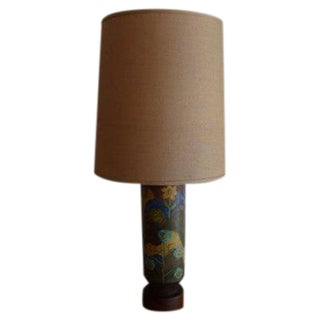 Mid-Century Hand Painted Ceramic Table Lamp For Sale