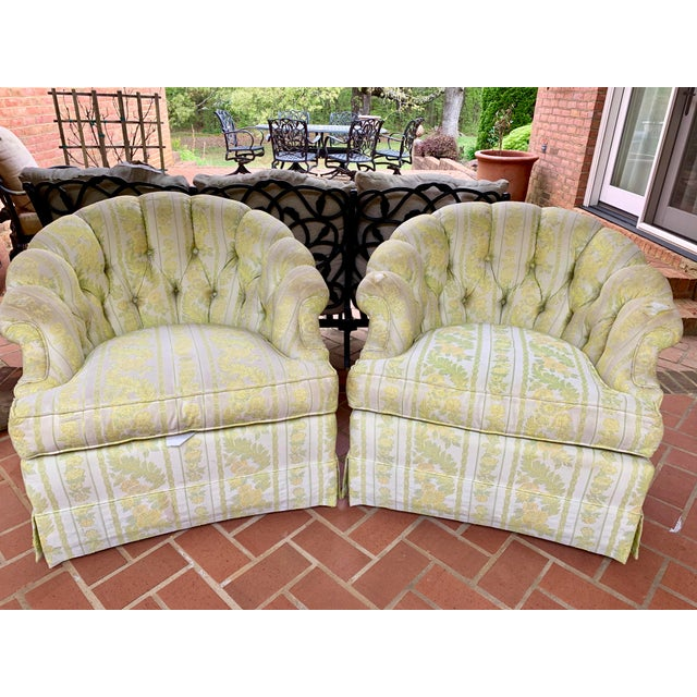 1960s W & J Sloane Shabby Chic Tub Chairs With Casters & Original Upholstery - a Pair For Sale - Image 10 of 10