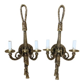 Spanish French Tassel and Rope Painated 2 Light Brass Sconces - a Pair For Sale