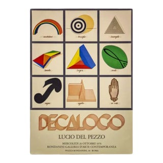 Vintage Geometric & Symbols Limited Edition Lithograph by Lucio Del Pezzo 1976 Exhibition Poster For Sale