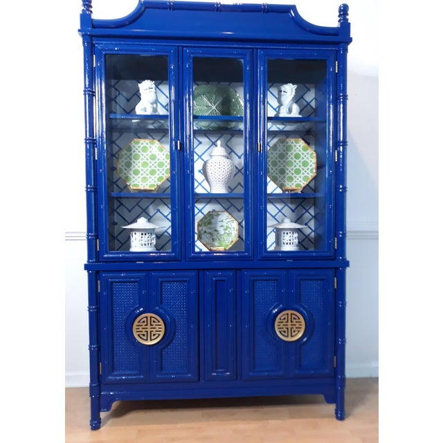 Chippendale Faux Bamboo Navy Blue Lacquered China Cabinet For Sale - Image 3 of 13