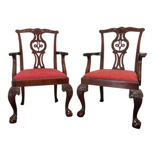 Baker Chippendale Ball in Claw Mahogany Dining Armchairs - Pair For Sale