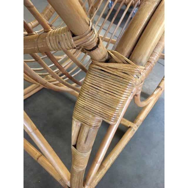 Mid-Century Modern Restored Oversized Stick Rattan Rocking Chair in the Style of Franco Albini For Sale - Image 3 of 12